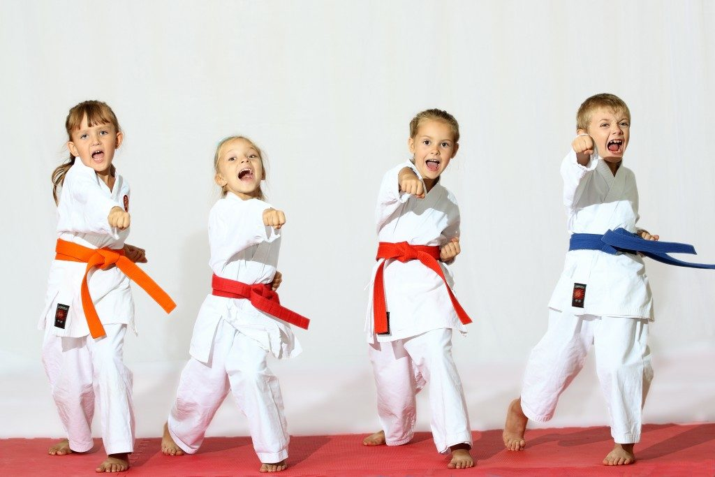 Kids doing karate