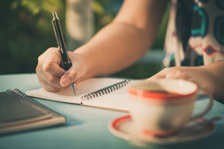 writing on a journal